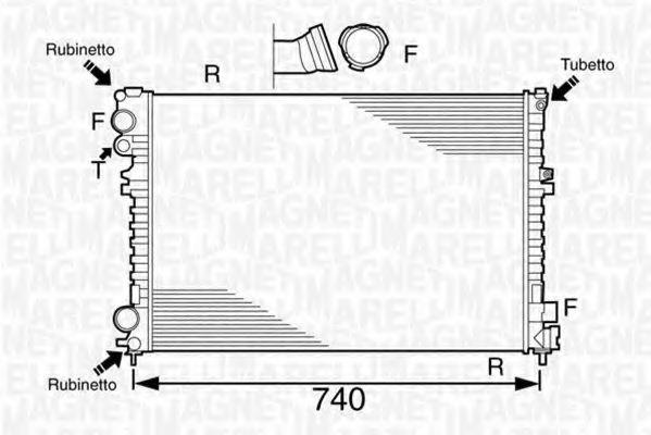 Радиатор, охлаждение двигателя MAGNETI MARELLI 350213102700