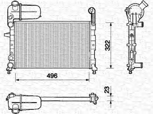 Радиатор, охлаждение двигателя MAGNETI MARELLI 350213105000