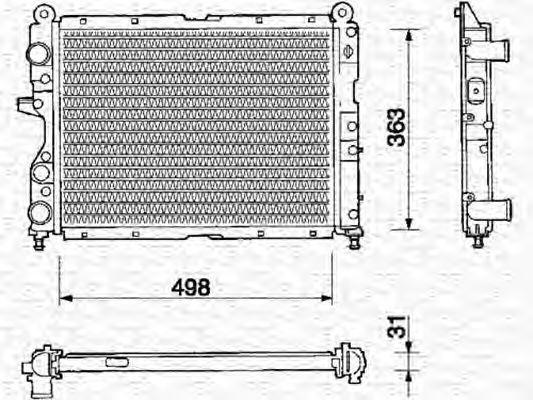 Радиатор, охлаждение двигателя MAGNETI MARELLI 350213106000