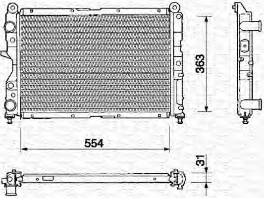 Радиатор, охлаждение двигателя MAGNETI MARELLI 350213107000