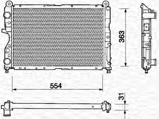 Радиатор, охлаждение двигателя MAGNETI MARELLI 350213108000