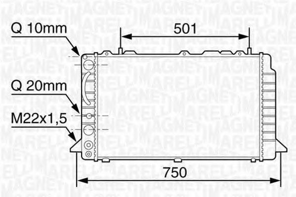 Радиатор, охлаждение двигателя MAGNETI MARELLI 350213117600