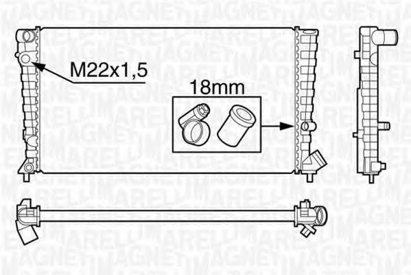 Радиатор, охлаждение двигателя MAGNETI MARELLI 350213118300