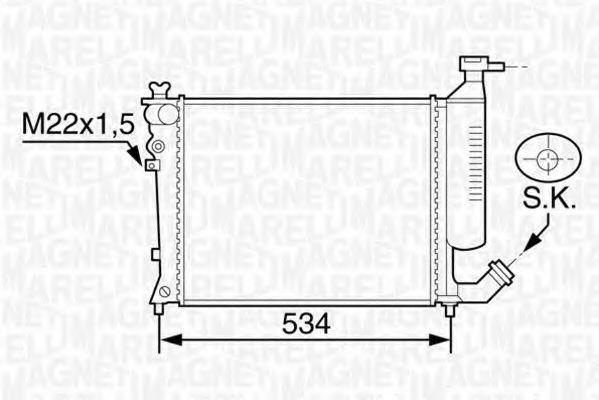 Радиатор, охлаждение двигателя MAGNETI MARELLI 350213118900