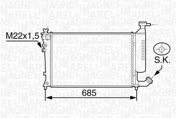 Радиатор, охлаждение двигателя MAGNETI MARELLI 350213119200