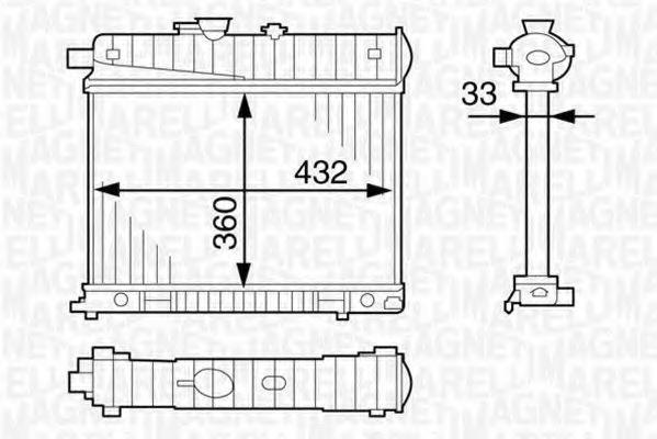 Радиатор, охлаждение двигателя MAGNETI MARELLI 350213122400