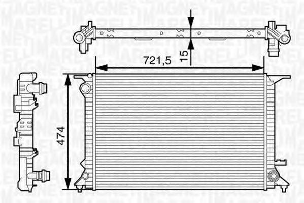 Радиатор, охлаждение двигателя MAGNETI MARELLI 350213127600