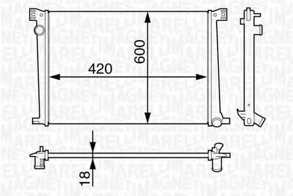 Радиатор, охлаждение двигателя MAGNETI MARELLI 350213128100