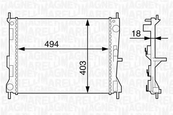 Радиатор, охлаждение двигателя MAGNETI MARELLI 350213129300