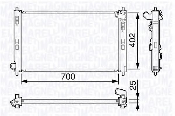 Радиатор, охлаждение двигателя MAGNETI MARELLI 350213135100