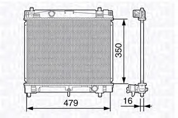 Радиатор, охлаждение двигателя MAGNETI MARELLI 350213136900