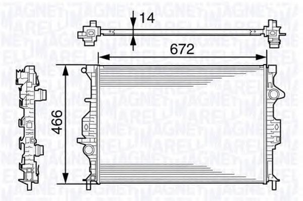 Радиатор, охлаждение двигателя MAGNETI MARELLI 350213138500