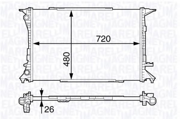 Радиатор, охлаждение двигателя MAGNETI MARELLI 350213139400