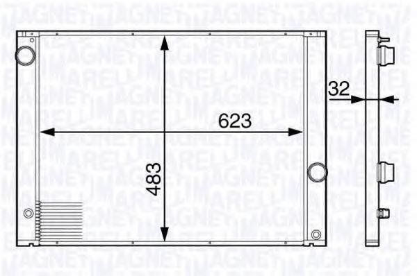 Радиатор, охлаждение двигателя MAGNETI MARELLI 350213139700