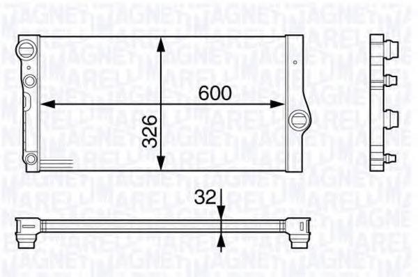 Радиатор, охлаждение двигателя MAGNETI MARELLI 350213142200