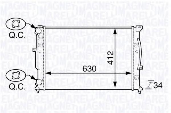 Радиатор, охлаждение двигателя MAGNETI MARELLI 350213144100