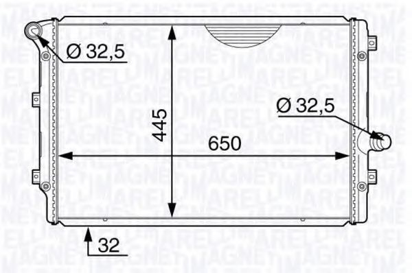 Радиатор, охлаждение двигателя MAGNETI MARELLI 350213144400