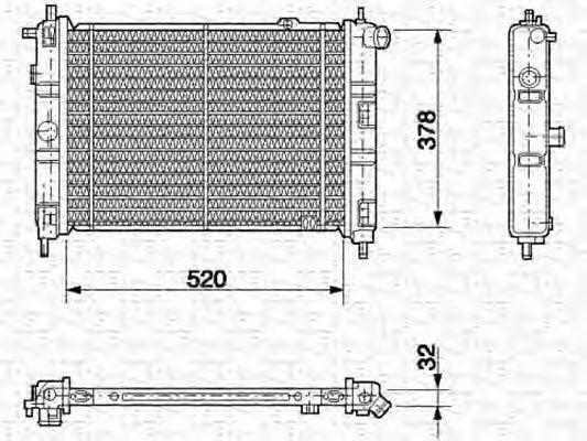 Радиатор, охлаждение двигателя MAGNETI MARELLI 350213583000