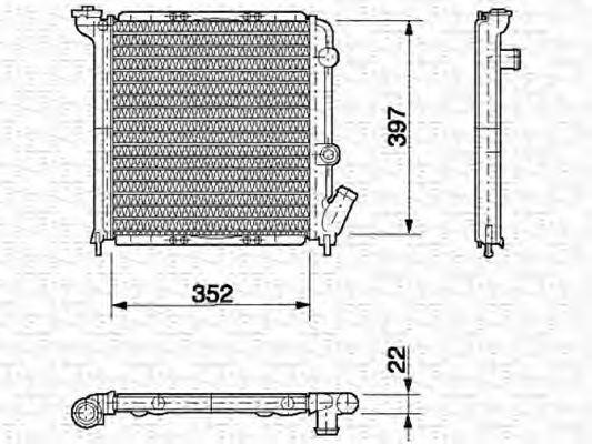 Радиатор, охлаждение двигателя MAGNETI MARELLI 350213613000