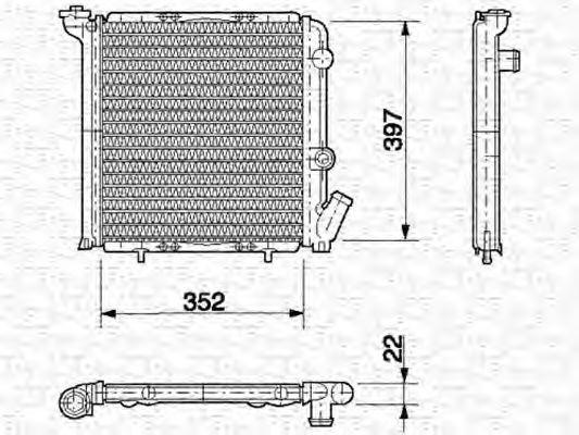 Радиатор, охлаждение двигателя MAGNETI MARELLI 350213614000