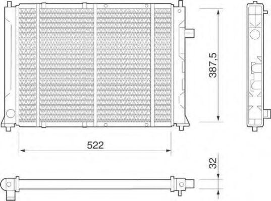 Радиатор, охлаждение двигателя MAGNETI MARELLI 350213802000