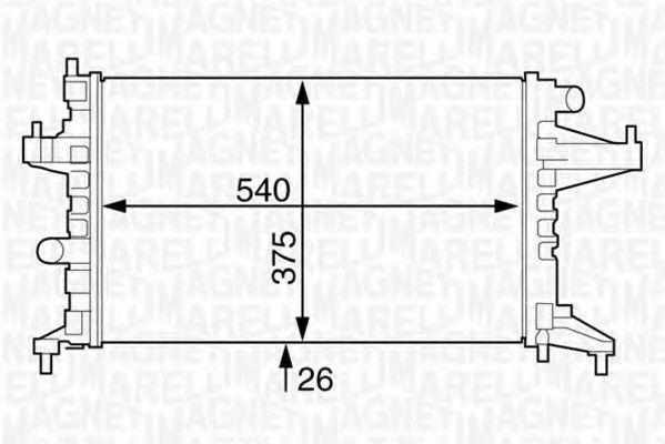 Радиатор, охлаждение двигателя MAGNETI MARELLI 350213830000