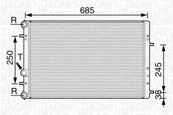 Радиатор, охлаждение двигателя MAGNETI MARELLI 350213841000