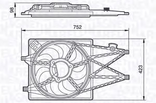 Вентилятор, охлаждение двигателя MAGNETI MARELLI 069422457010