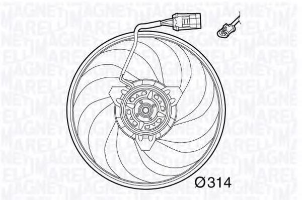 Вентилятор, охлаждение двигателя MAGNETI MARELLI 069422565010
